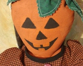 Primitive pumpkin rag doll