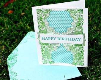 Swirl Birthday Letterpress Greeting Card