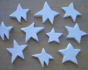 10S - 10 pc White WONKY STARS  - Ceramic Mosaic Tiles