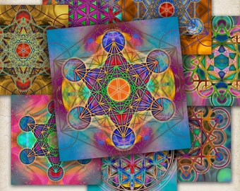 """Printable digital collage sheets SACRED GEOMETRY 3.8""""x3.8"""" images for coasters, craft projects, downloadable scrapbooking paper by ArtCult"""