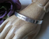 HOLD OCT 12 sterling silver cuff bracelet, silver inspirational cuff bracelet, motivational silver jewelry, follow your bliss sterling cuff