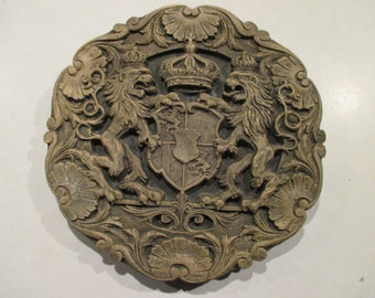 Coat of Arms Medieval Griffins Lions Shield Crown Concrete Reproduction Wood Carving Indoor/Outdoor Wall Hanging Plaque Garden Sculpture Art