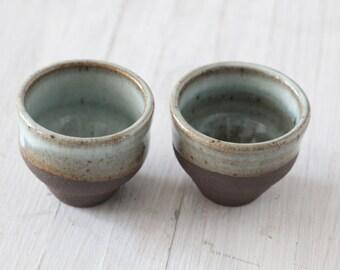 Pair of  Wheel Thrown tea cups Black Mountain Clay
