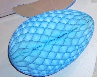 """2 Vintage Easter Egg HUGE 18"""" Honeycomb Crepe Paper Danish Mod beistle BLUE"""