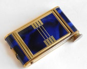 Vintage Art Deco Cobalt Blue Enamel and Goldtone Makeup Compact / Manicure Kit - Double-Sided - Unused Condition - For Powder and Lipstick