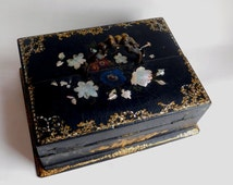 Antique Victorian Papier Mache Black Lacquer Ebonized Writing Box w/ Inlaid Shell - Vintage Chinoiserie - Shabby Chic Painted Flowers