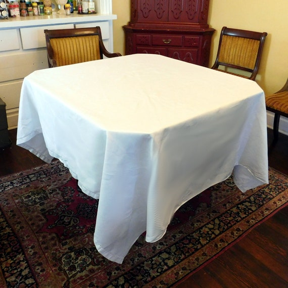 Extra Large Vintage Snowy-White Linen Drawn Work Tablecloth