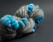 Bleu Gris, Mostly Merino, CoilSpun BeeHive Art Yarn, HandSpun HandDyed Yarn, 30 yards