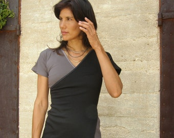 Womens clothing-womens blouse- Asymmetric summer top- Two layers top-Layering shirt tee-Smokey  and black top