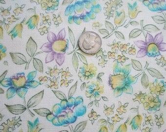 "Vintage 1960s Perfect Unused Cotton Fabric- Lavender and Turquoise Floral 46"" x 3 Yards"