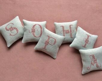 Customized Handstitched Name Pillows / Mini Shelf Pillows / Baby Name Pillows /Nursery Decor
