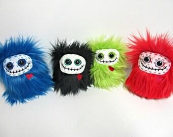 Monster Plush - Skeleton Plush - Handmade Skelly Plush - Skeleton softie - Plush Skeleton Toy - Faux fur monster - OOAK Skeleton Monster