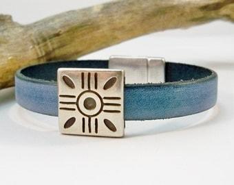 Leather Bracelet, Vintage Denim Leather Bracelet, Silver and Leather, Silver Sun Slider, Gift for Her