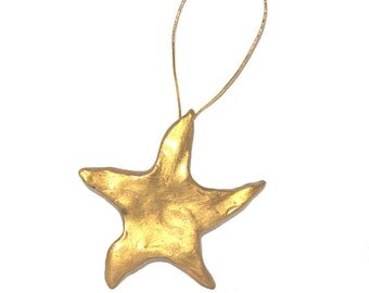 Gold Star Ornament, Sculptured Christmas Folk Art, Hand-sculpted Polymer Clay, Old-Fashioned Holiday Decorating, Home Decor, Cottage Chic