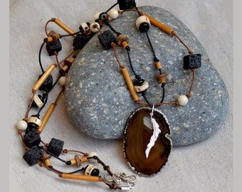 Agate Slice Necklace. Sterling Silver. GOOD LUCK.  Brown Wood - Black Lava Beads Leather Cord Necklace.  Silver Feather Agate Pendant.