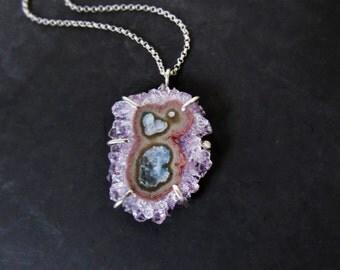 Amethyst Slice Necklace, Sterling Silver Jewelry, Purple Stone Pendant, Bohemian Jewelry