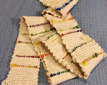 Handwoven Saori wool and cotton wall hanging 60inX4.5in