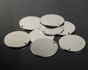 "10 pcs of 1"" Stainless Steel Stamping Blanks - 1 inch 25 mm 18 gauge 1.0mm thickness - Blank Stamping Metal Flat Discs Tags"