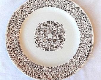 Antique Victorian English Brown Transferware Plate America Pattern 1880s-90s
