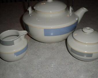 Arabia Finland modern Scandinavian Teapot or coffee pot Sugar Bowl & Creamer SET Kombi pattern gray yellow and blue stripe bands