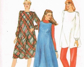 Maternity Dress Tunic Top and Jumper Butterick 4098 Sewing Pattern Vintage 1980s Misses Size 14 Bust 36