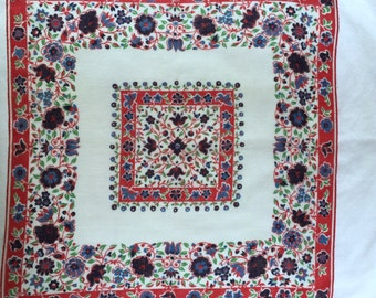 Vintage Red White and Blue Handkerchief with Blue Flowers