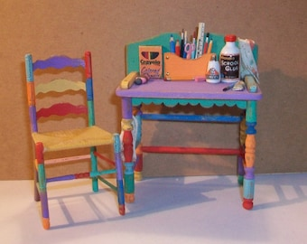 Child's Desk and Chair  1:12 scale