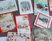 RESERVED Old Fashioned Christmas as Depicted by Mid Century Illustators in Vintage Christmas Card Lot No 767 Total of 11 Pop Up Carriage
