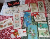 Modern Look Enhanced by GLITTER in Vintage Christmas Card Lot No 618 Total of 12 Pine Cones Noel Candles Mid Century Group