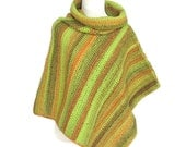 Women's Poncho Crochet Rainforest Stripes Cowl Neck Cape Style - Ready Made and Custom Orders Available