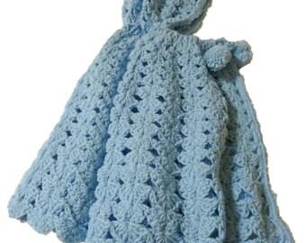 Cape Light Blue with Hood, Crochet Baby Cape