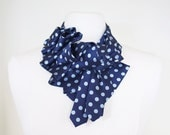 Katherine Ruffle Necktie Scarf - Navy Polkadot Cute Dandy Couture