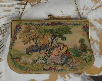 Vintage Purse, Petit Point Purse, Victorian Purse, Edwardian Purse, Mico Petit Point, Bridal Purse, Gift for Her,  Evening Purse