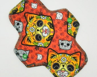 """8.5"""" Pantyliner, Every Day Liner Made w/ Candy Cats Minky, Windpro Fleece, Reusable Cloth Menstrual Pad, MotherMoonPads Cloth Pad"""