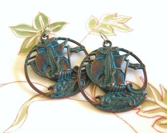 Galleon Spanish Ship Ocean Copper Hoop Earrings Patina Green