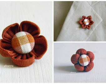 Flower lapel pin. Mens boutonniere. Men accessories. Burnt orange, gingham.  Textile lapel pin.
