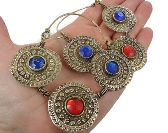 Big Hoop Earrings, Gypsy Jewelry, Blue Red, Brass Earrings, Afghan Jewelry, Boho, Bohemian, Statement, Ethnic Tribal, Festival, Hippie Chic