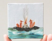 campfire on an island  / original painting on canvas
