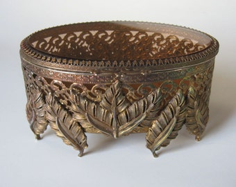 Ormolu Filigree Jewelry Casket Beveled Amber Glass Vanity Dresser Box Leaf Motif