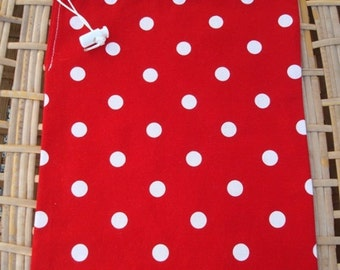 Drawstring Bag - Red - Drawstring Pouch - Small Drawstring Bag - Small Drawstring Pouch - Polka Dots - Cosmetic Bag - Cosmetic Pouch