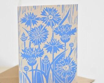 Cornflower Block-printed Card
