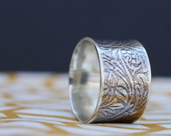Wide Sterling Silver Ring, Floral Sterling Silver Band, Handmade Silver Ring, Size 8