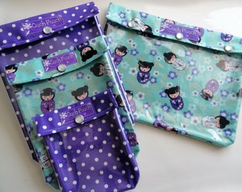Japanese Kimono Dolls Ouch Pouch (Label Optional) Set 4 Sizes Clear Pocket Travel Organizers First Aid Medications Diaper Wipes Holder