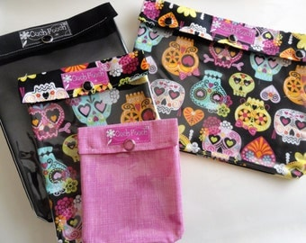 Ouch Pouch All 4 Sizes 'Clear Pocket' Airport Travel Friendly First Aid Medical Gear New Mom's Diaper Bag Organizer - Girl Sugar Skulls Set