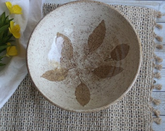 Rustic Nature Bowl with Pressed Leaf Impression Speckled Stoneware Pottery Bowl Handcrafted Made in USA Ready to Ship