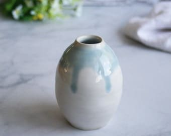 Simple White Vase with Dripping Blue Glaze Handmade Stoneware Vase White Pottery Ready to Ship Made in USA