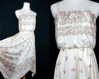 1970s White Sun Dress Handkerchief Hem Sleeveless Disco Floral Small Medium Summer Dress
