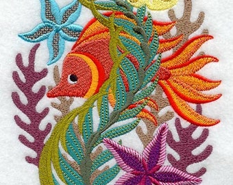 Embroidered Fish and Coral Towel - Jacobean Coral Reef Oval - Flour Sack Towel - Hand Towel - Bath Towel - Apron