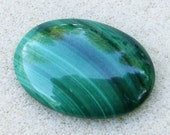 Green Malachite Cabochon - Fantastic Rich Green Oval With Beautiful Banded Pattern by JewelryArtistry - GC617