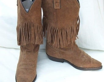 50% Off Sale Vintage Brown Fringed Cowboy Boots size 6 Kenny Rogers